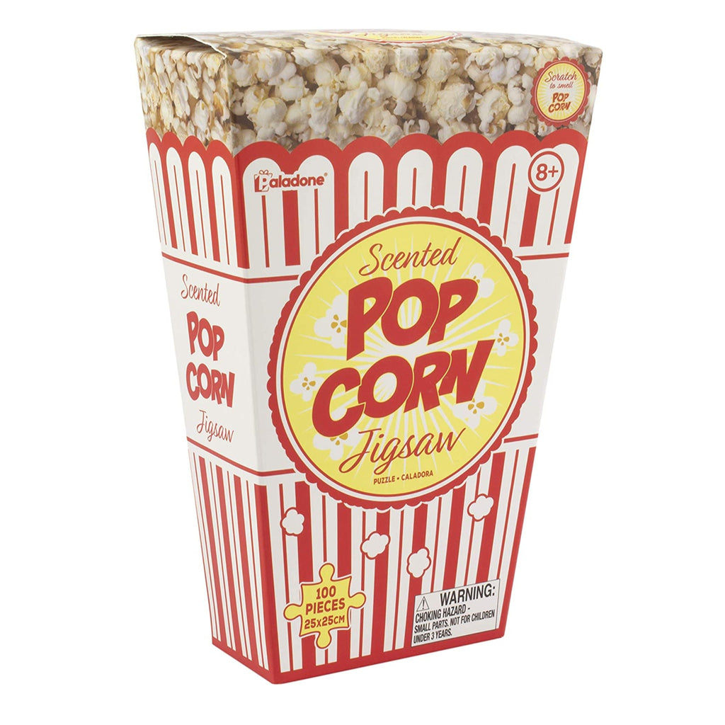 popcorn jigsaw puzzle in red and white striped popcorn style box