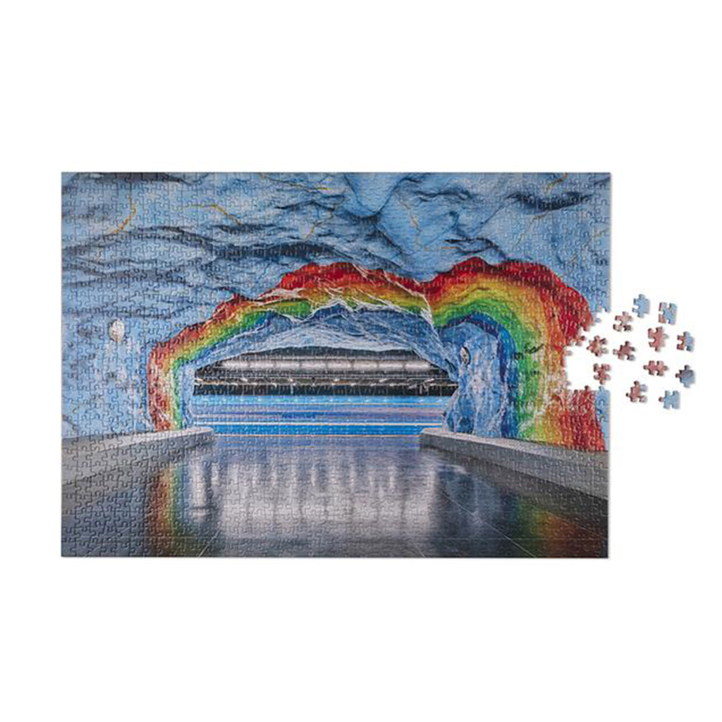 printworks 1000 piece subway art rainbow jigsaw puzzle in progress