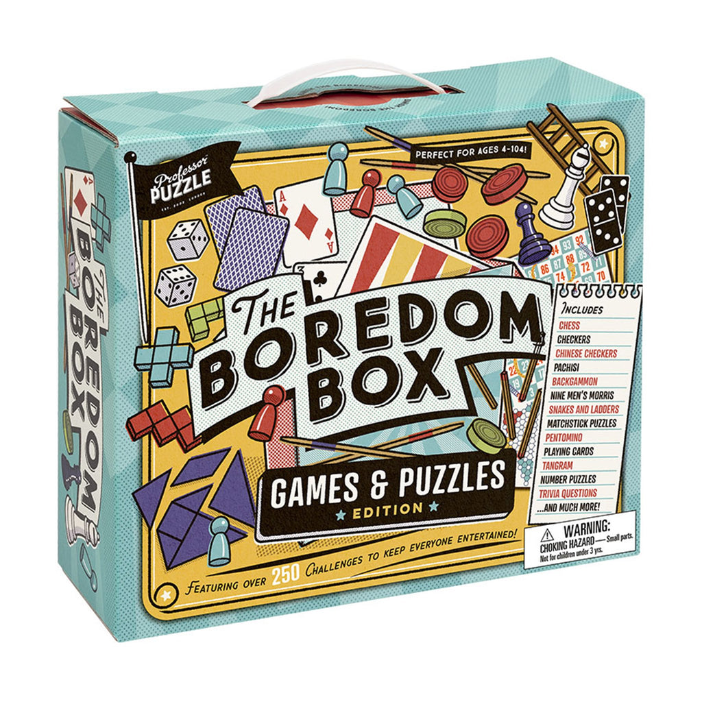 professor puzzle the boredom box games puzzles brainteasers edition packaging