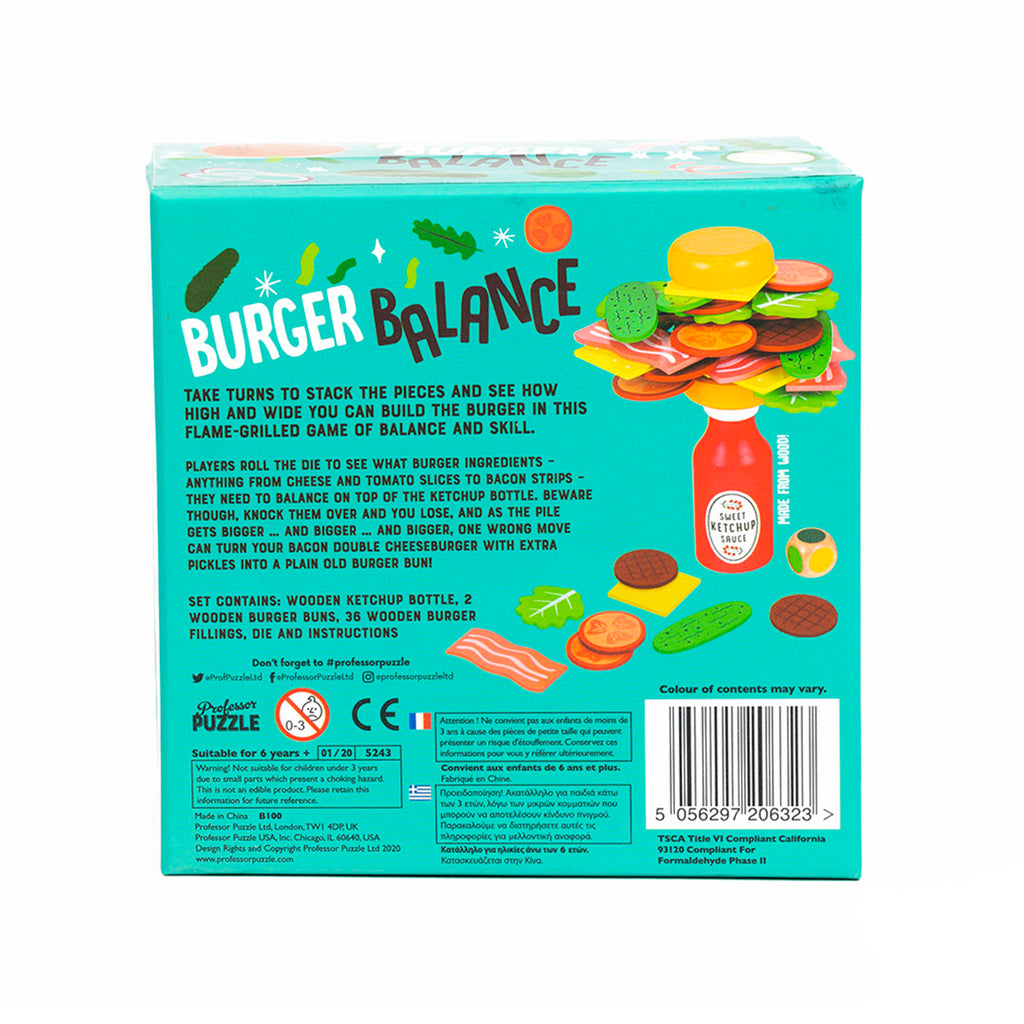 professor puzzle burger balance family friendly game box back