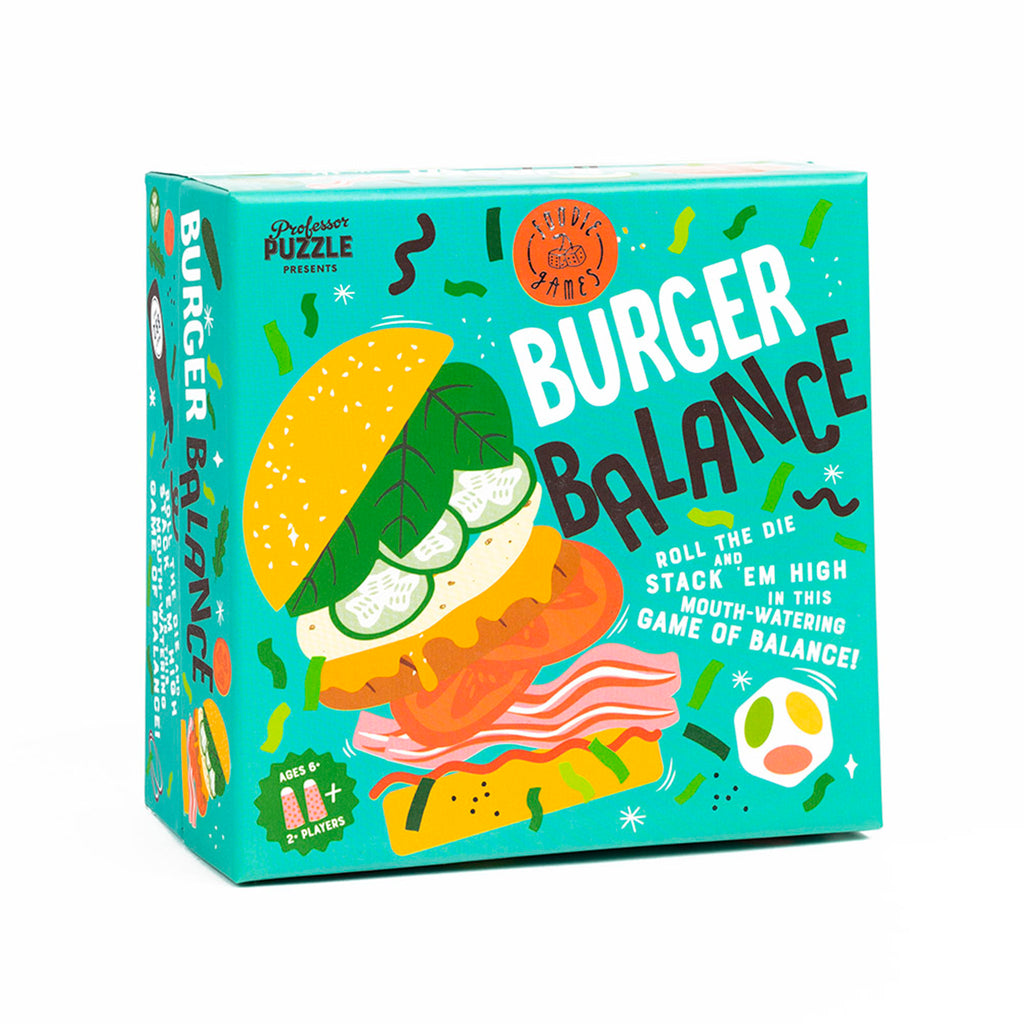 professor puzzle burger balance family friendly game box front