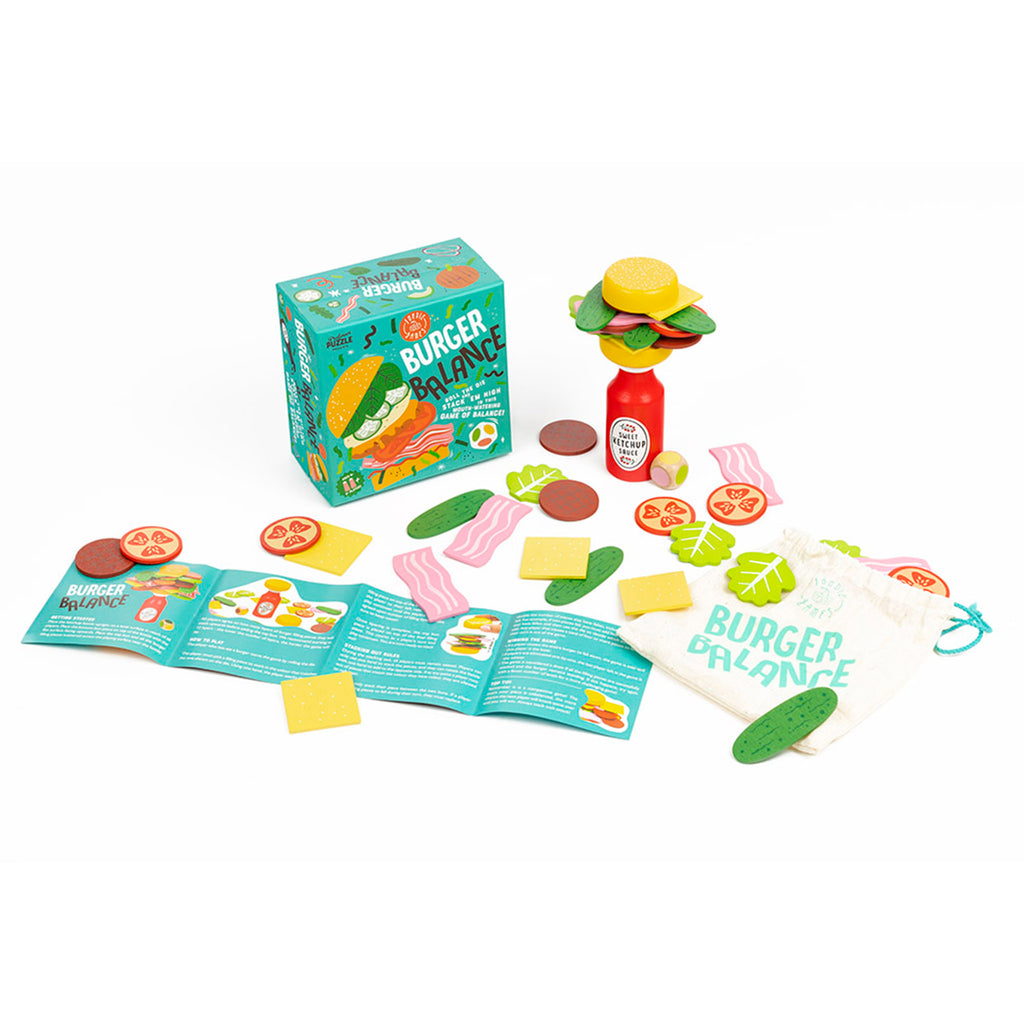 professor puzzle burger balance family friendly game box with contents