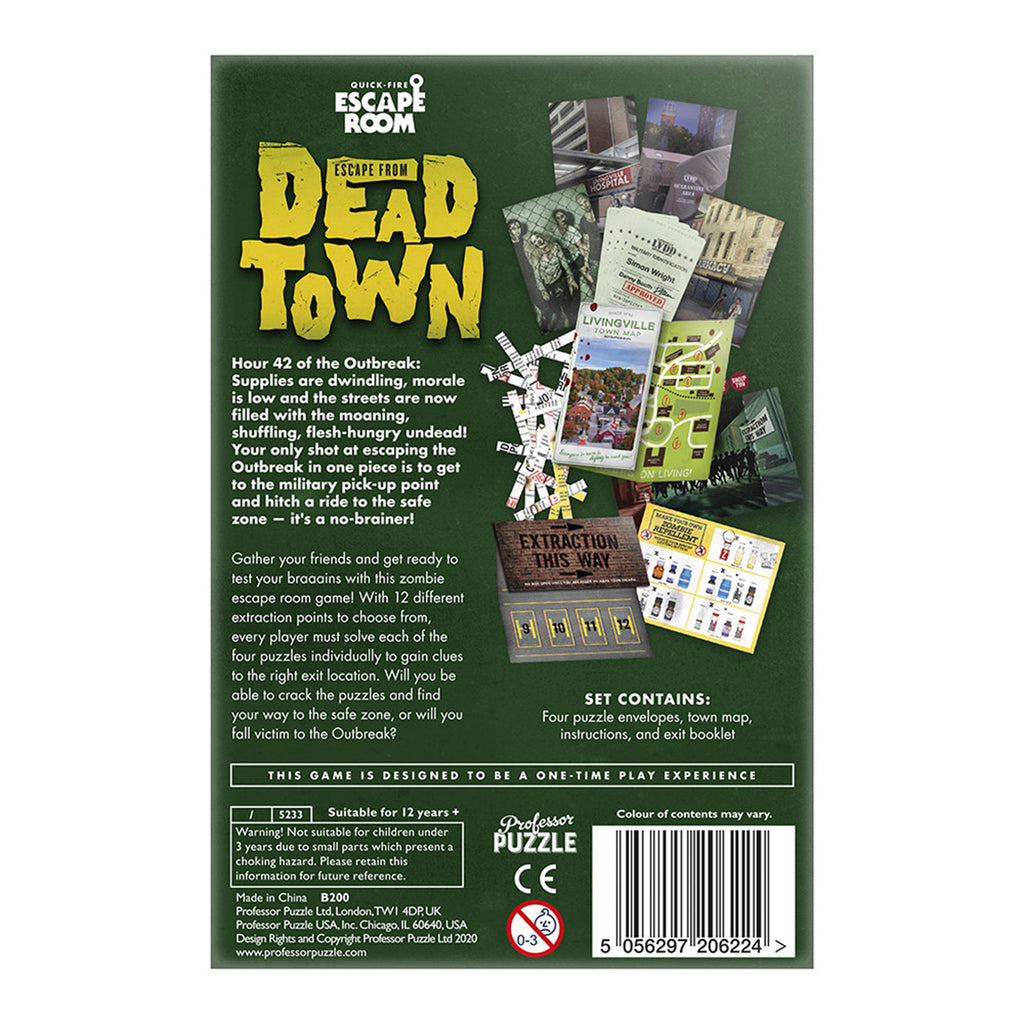professor puzzle escape from dead town game box back