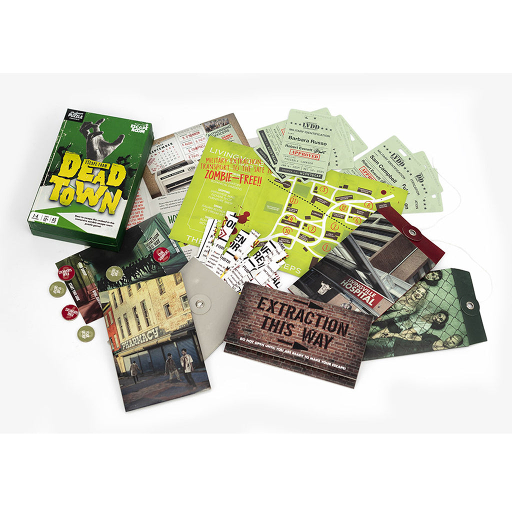 professor puzzle escape from dead town game box with contents