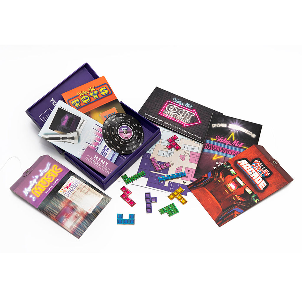professor puzzle escape from the mall family friendly game box with contents