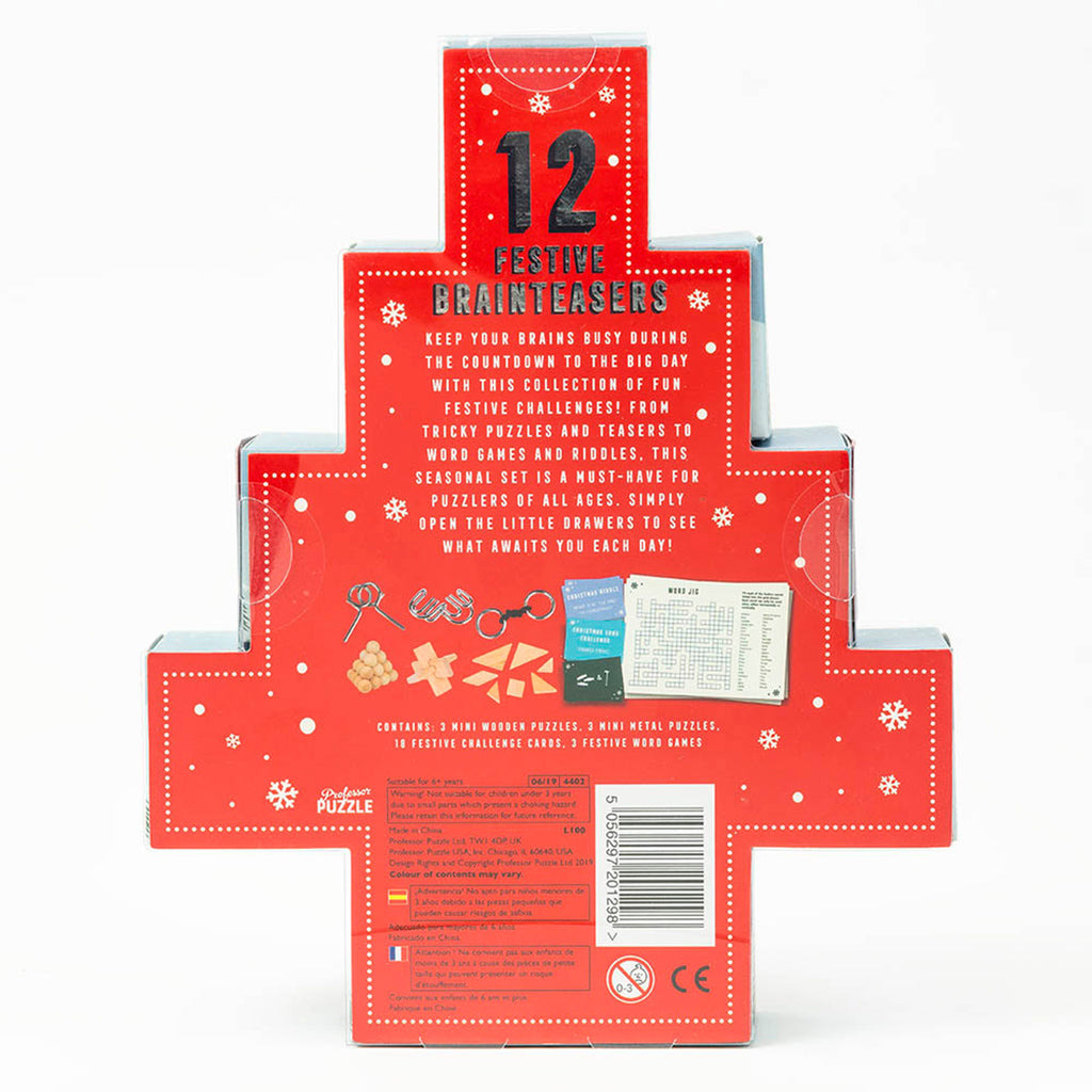 professor puzzle 2019 festive 12 days of christmas brainteasers countdown advent calendar back of packaging