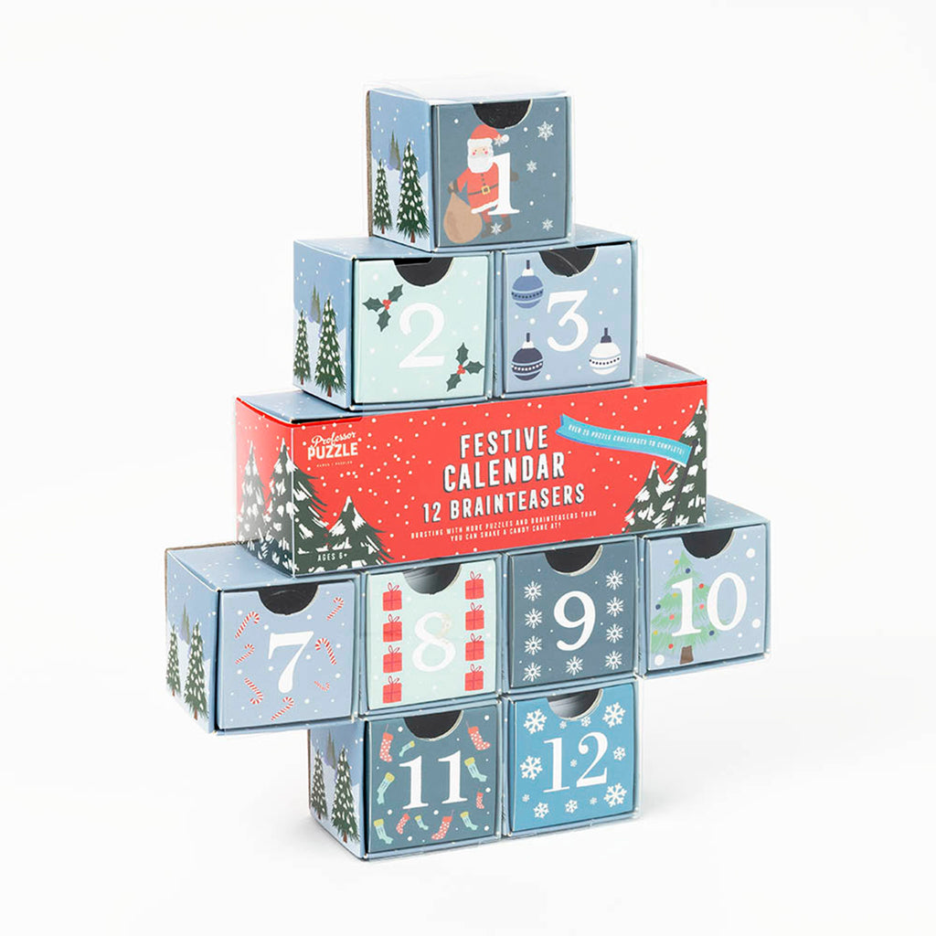 professor puzzle 2019 festive 12 days of christmas brainteasers countdown advent calendar packaging