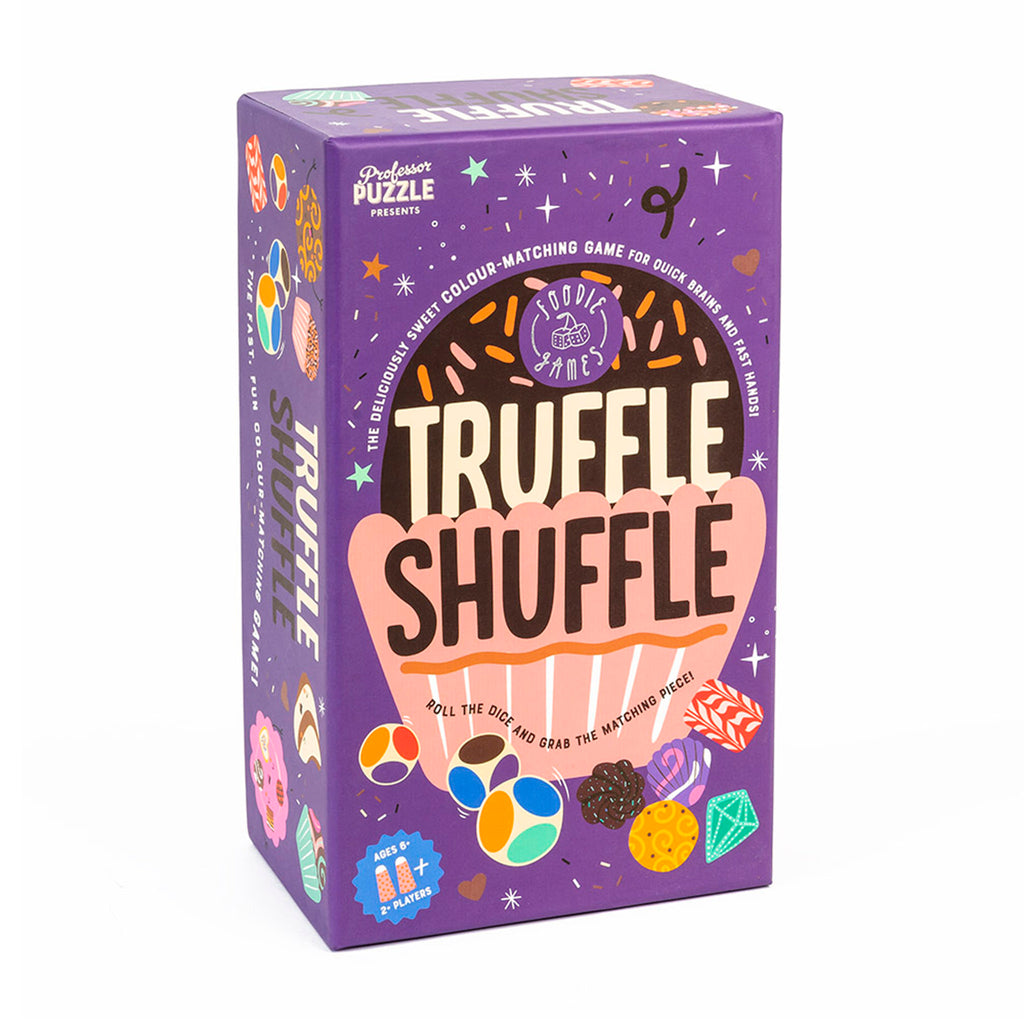 professor puzzle truffle shuffle family friendly game box front