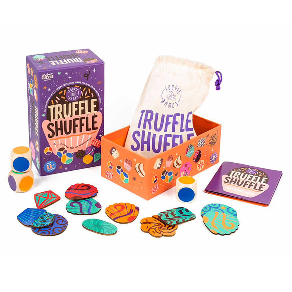 professor puzzle truffle shuffle family friendly game box with contents