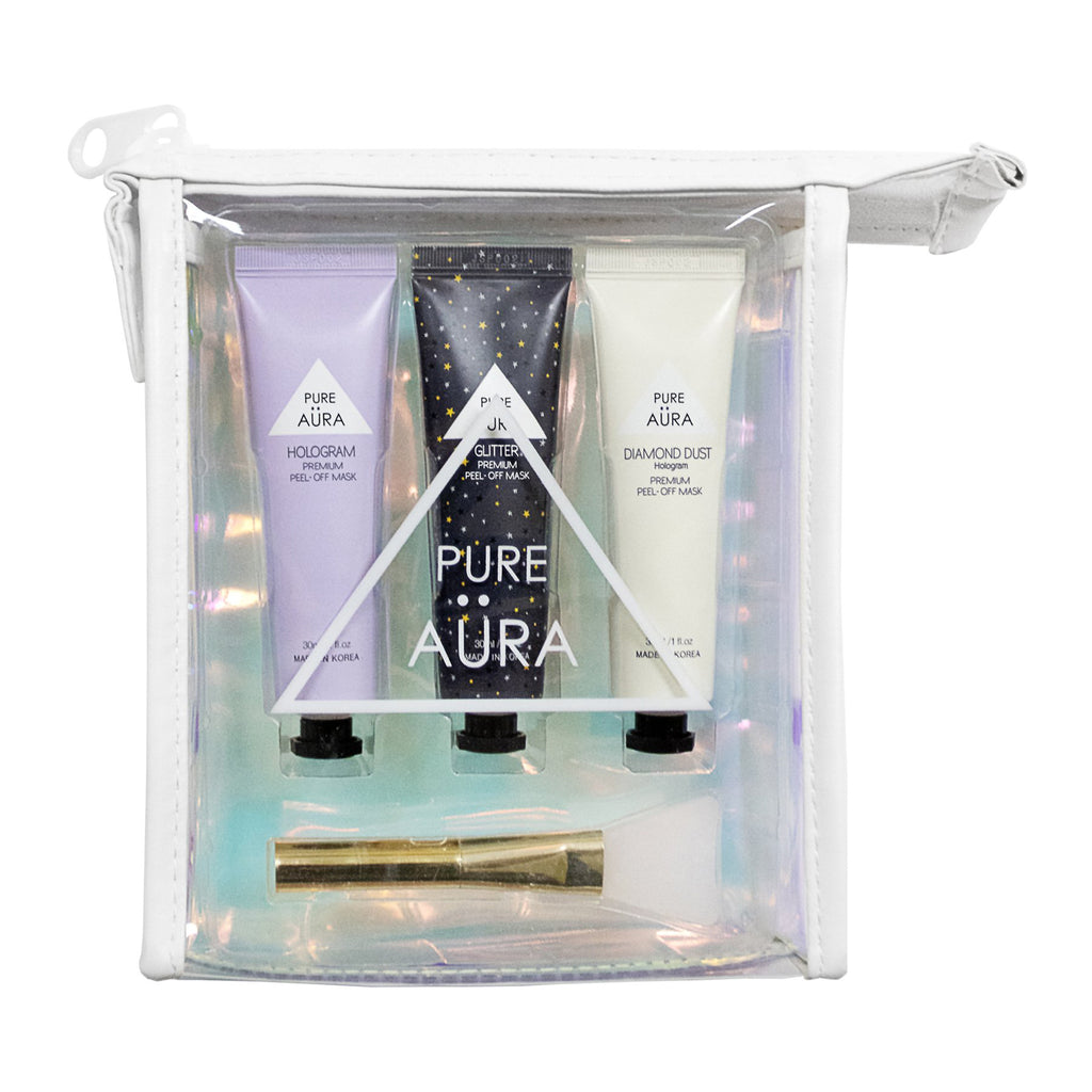 pure aura transcendence peel off mask travel kit in packaging