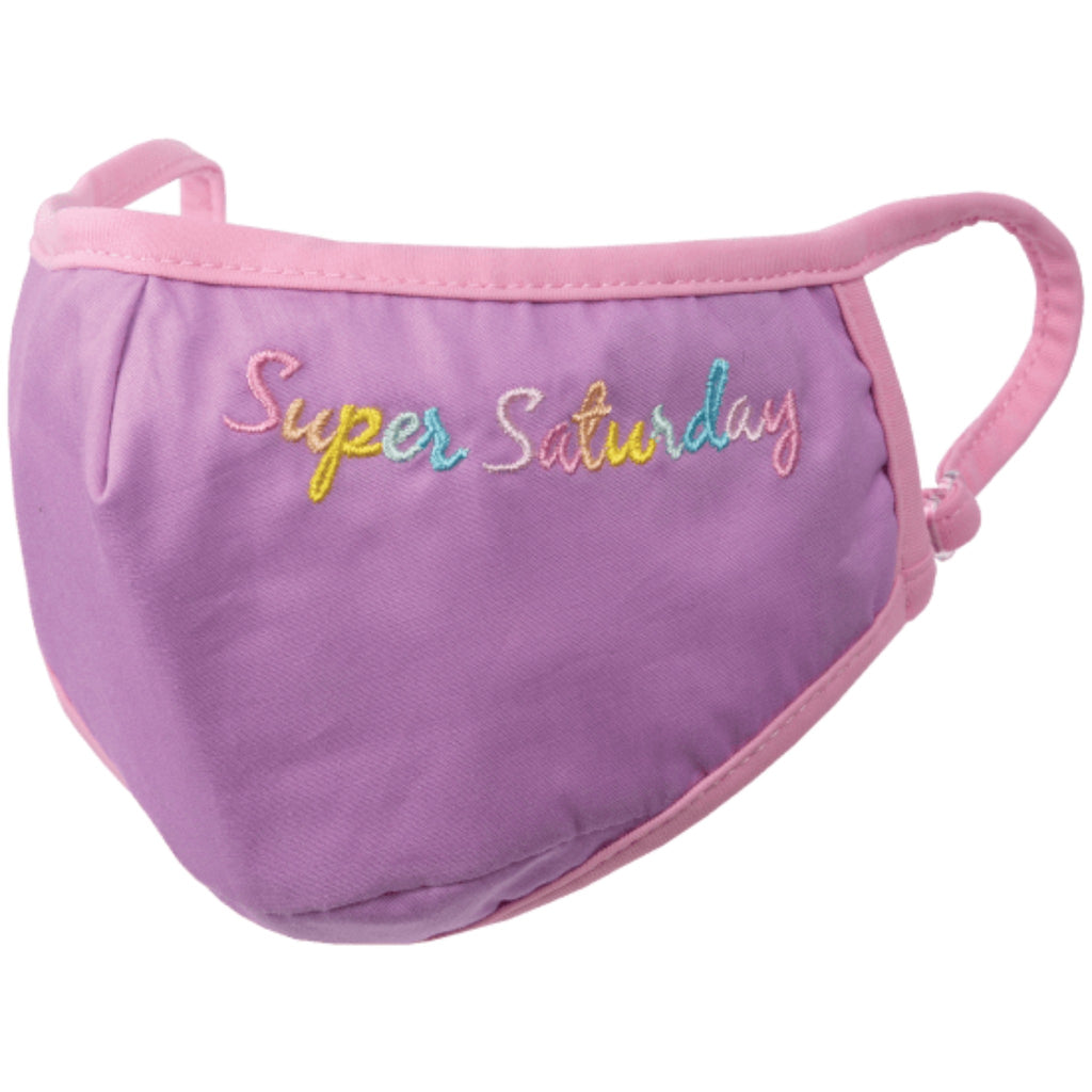 "purple face mask with pink trim and embroidered with the words ""super saturday"" in pastel rainbow colors"