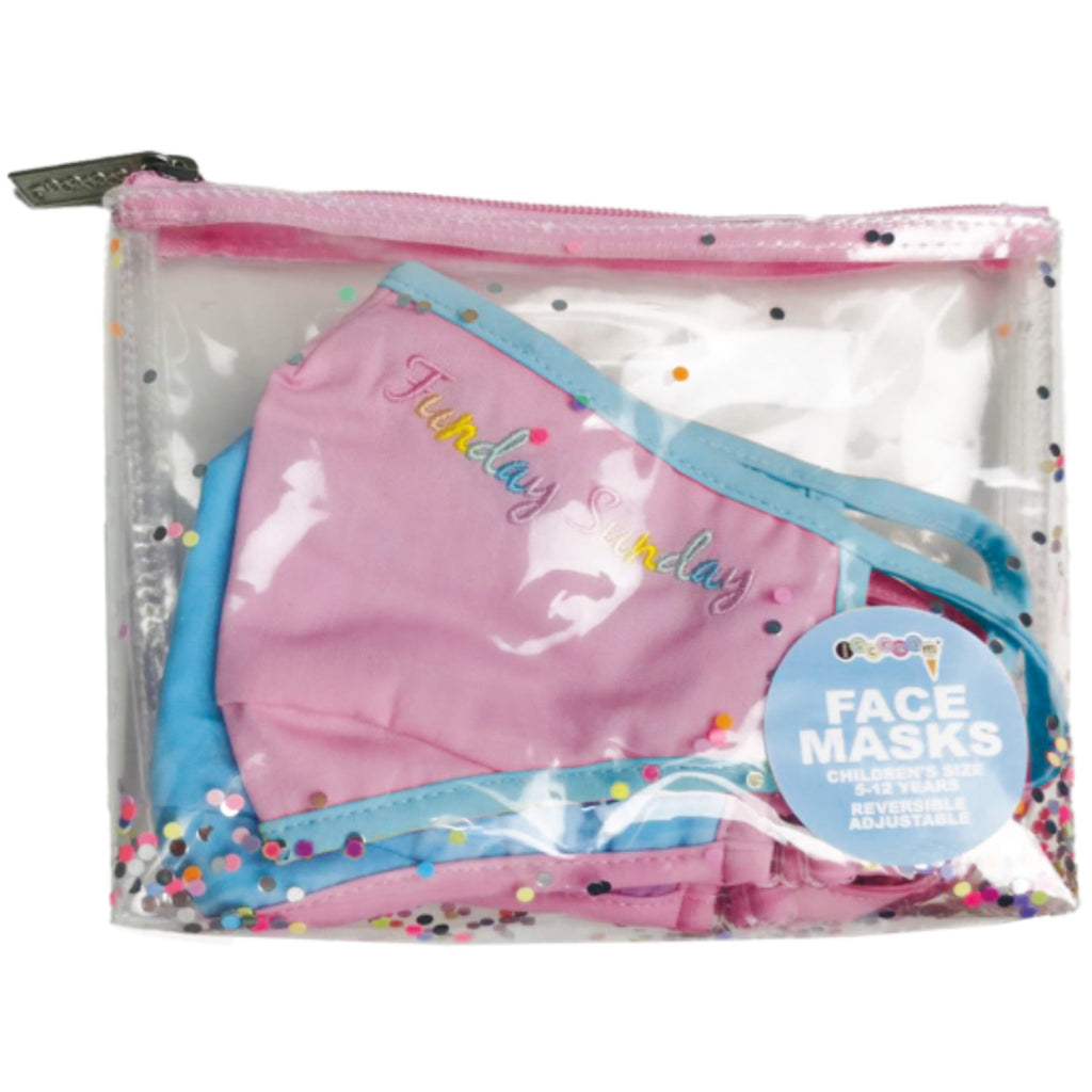 clear plastic pouch with floating confetti holding face masks