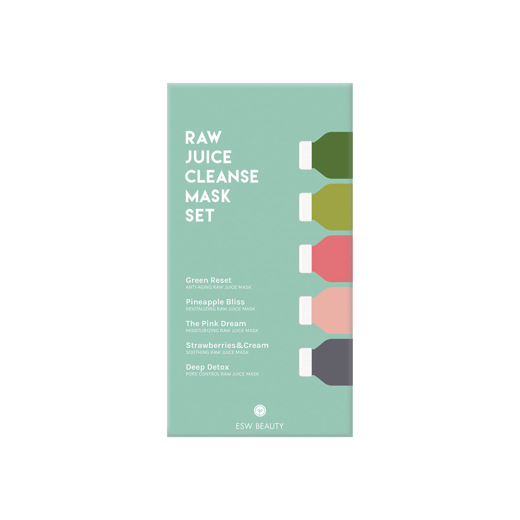 raw juice cleanse sheet mask set package