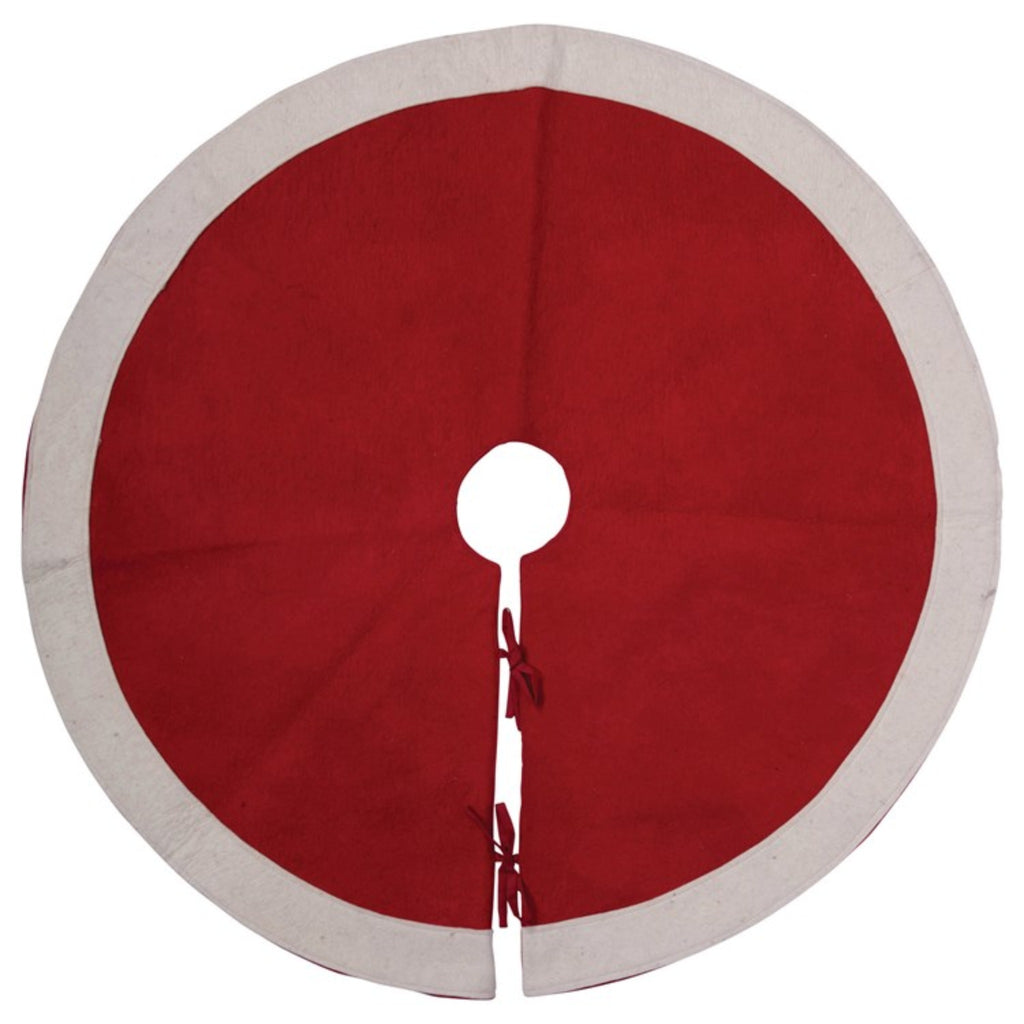 red and white wool felt tree skirt