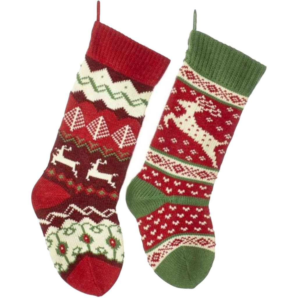 knitted stocking set with assorted reindeer fair isle patterns in red, green, and cream