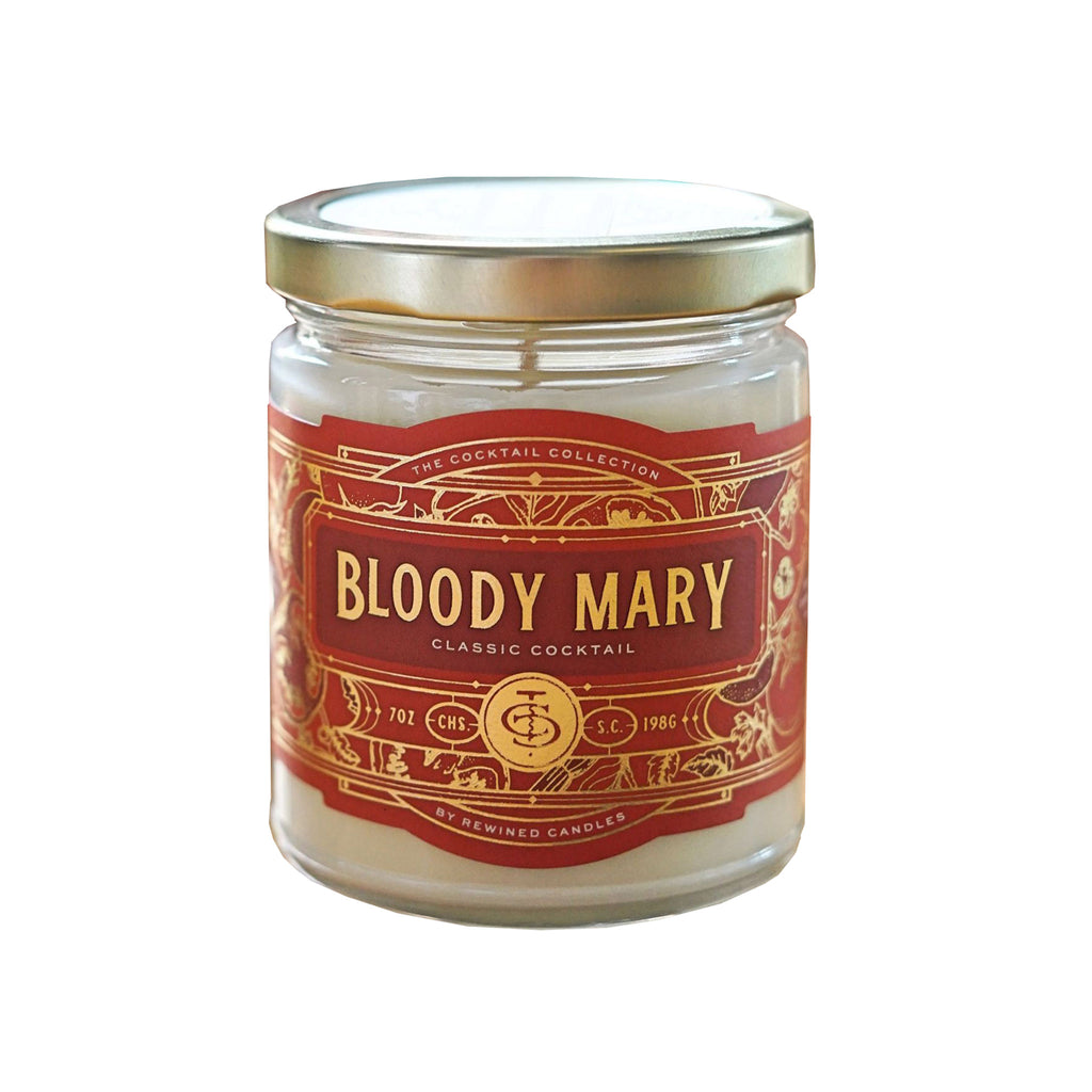 rewined candles bloody mary 7 ounce scented soy candle on white background