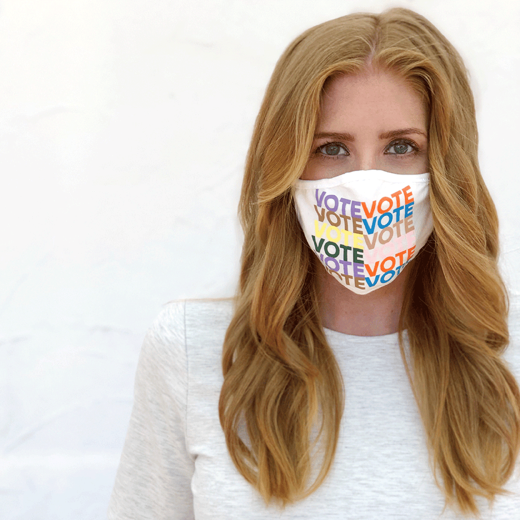 ripley rader white vote face mask on woman