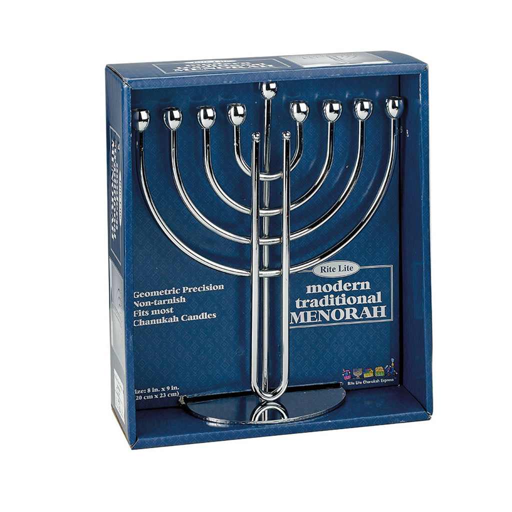 rite lite modern traditional silver finish menorah in box