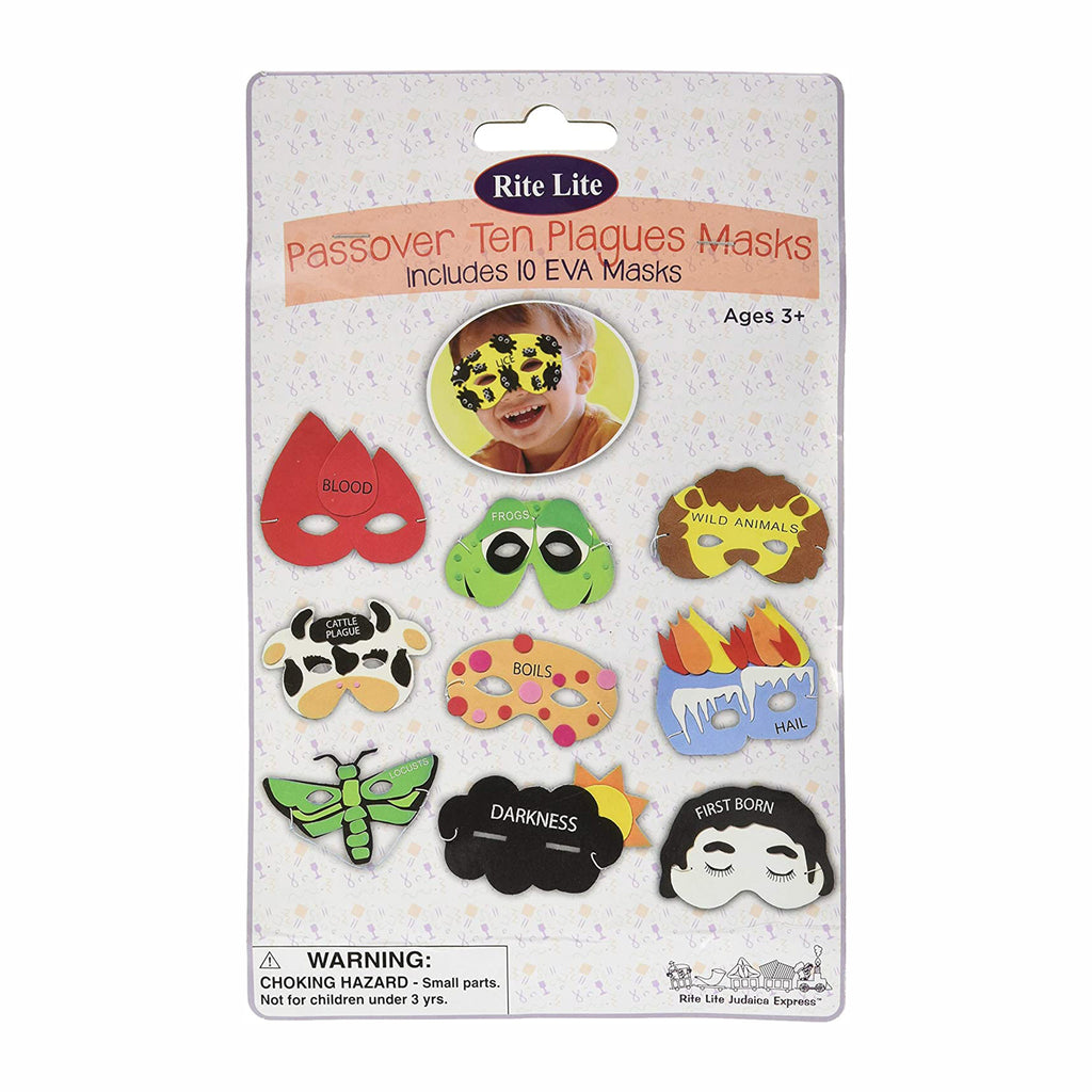 rite lite passover ten plagues masks in packaging
