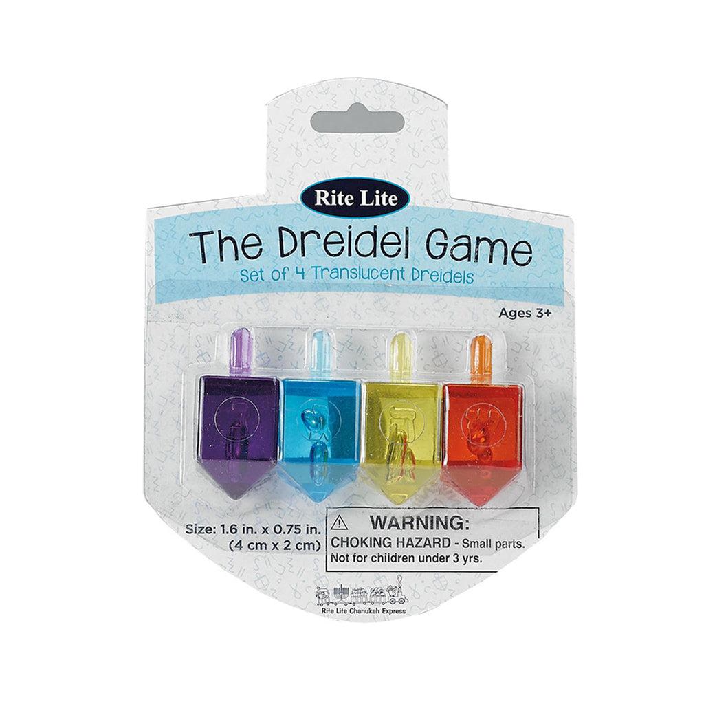 rite lite dreidel game set of four colorful translucent dreidels in package