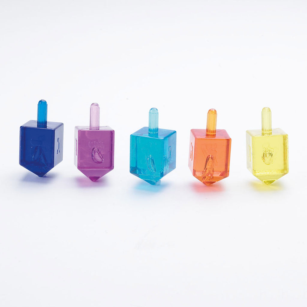 rite lite dreidel game set of four colorful translucent dreidels