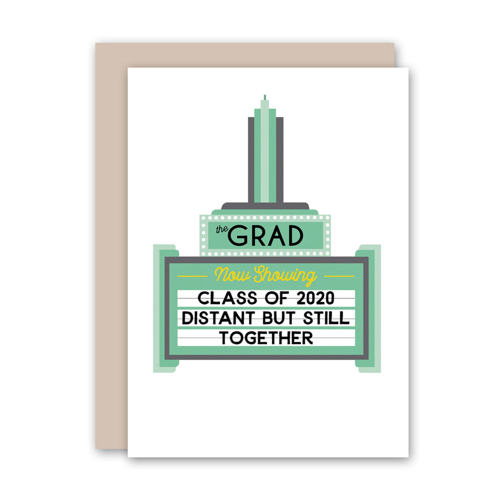 rock scissor paper 2020 graduation movie theater marquee class of 2020 greeting card with envelope