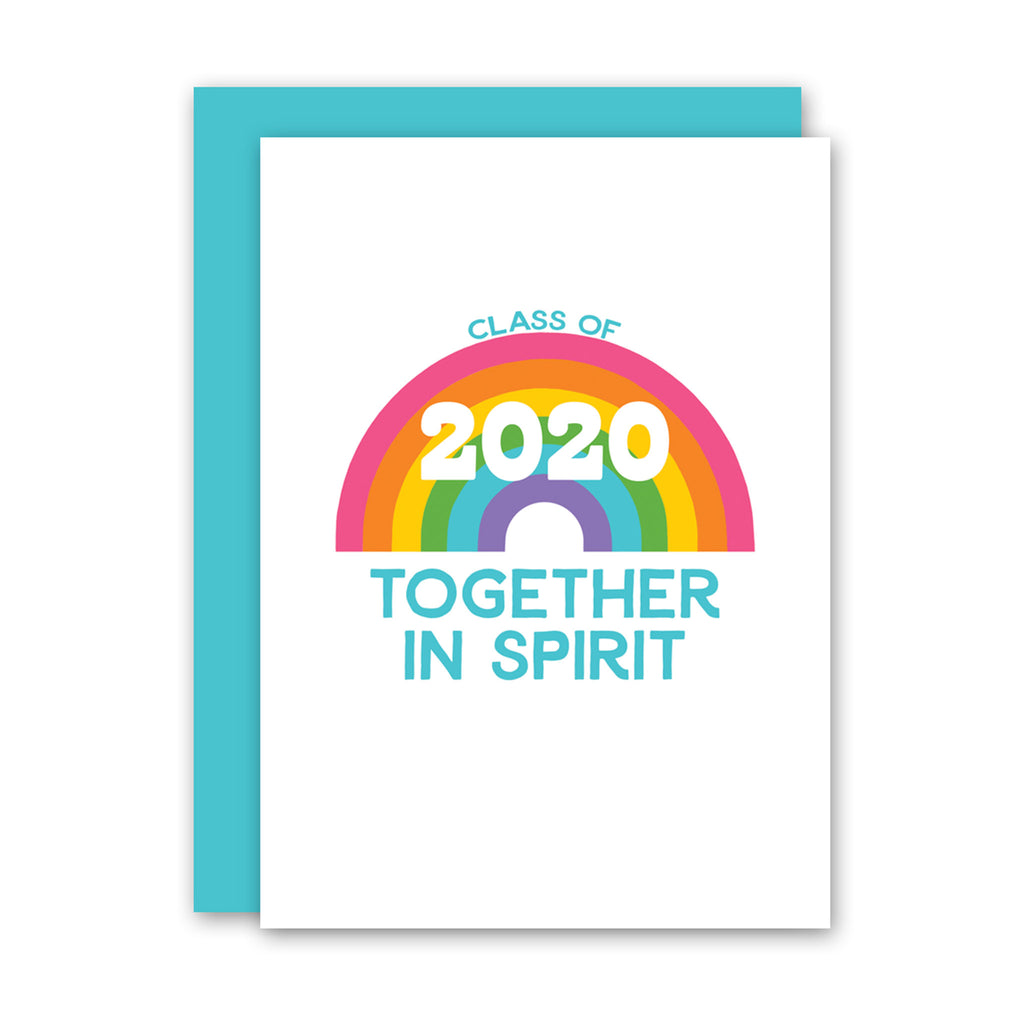 rock scissor paper 2020 graduation rainbow class of 2020 together in spirit greeting card with envelope