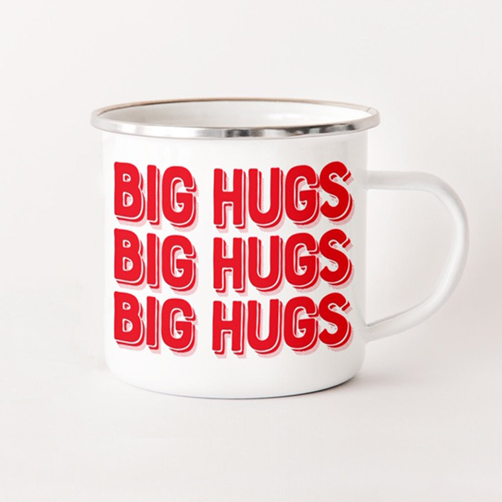 rock scissor paper big hugs red and white enamel stainless steel camp mug