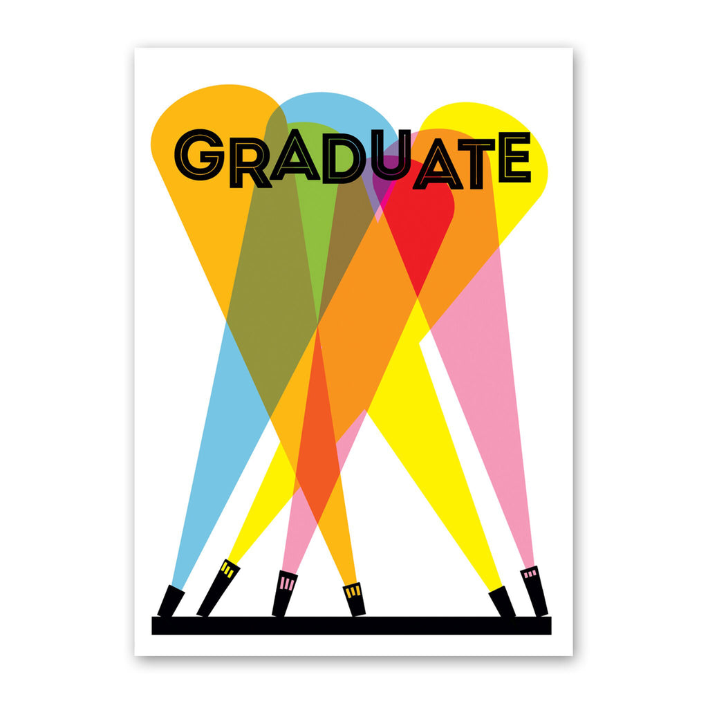 rock scissor paper graduation spotlights greeting card