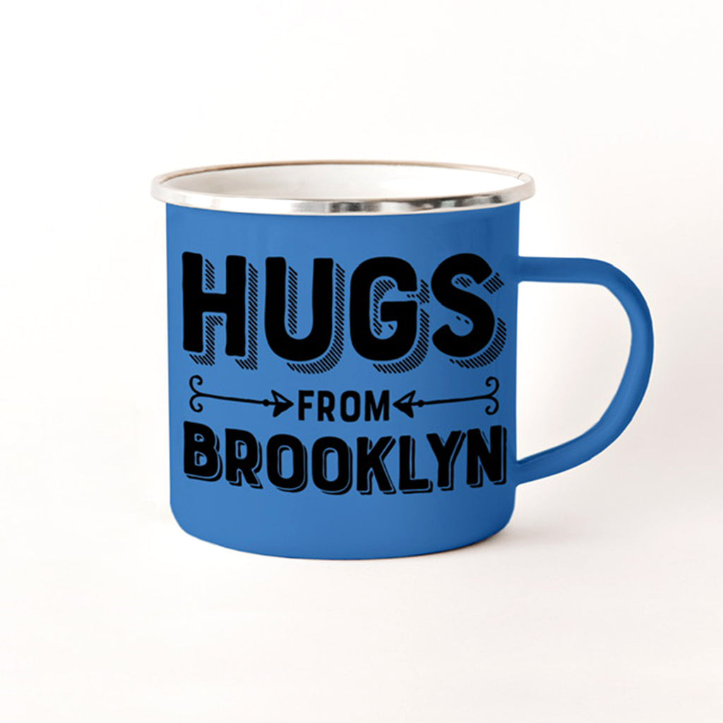 rock scissor paper hugs from brooklyn blue enamel stainless steel camp mug