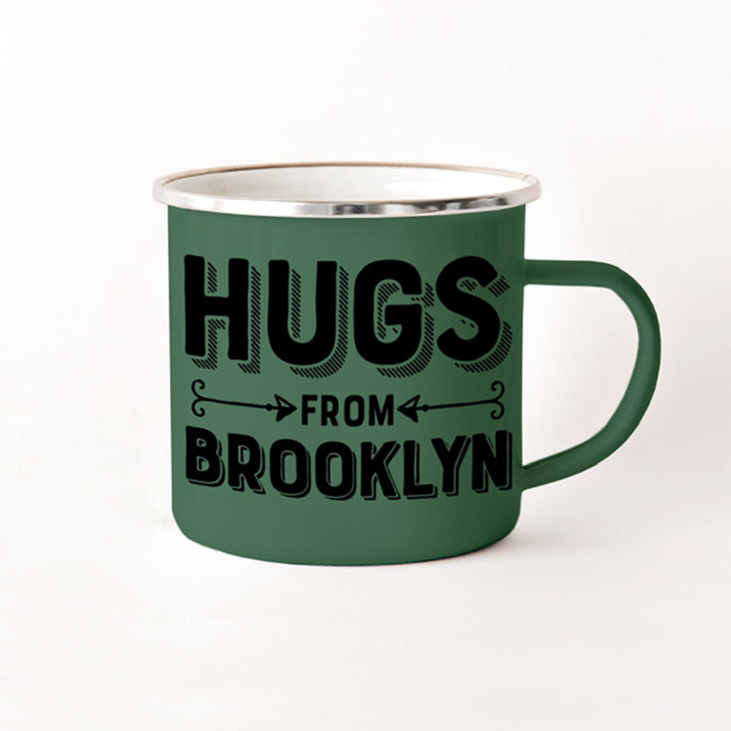 rock scissor paper hugs from brooklyn green enamel stainless steel camp mug