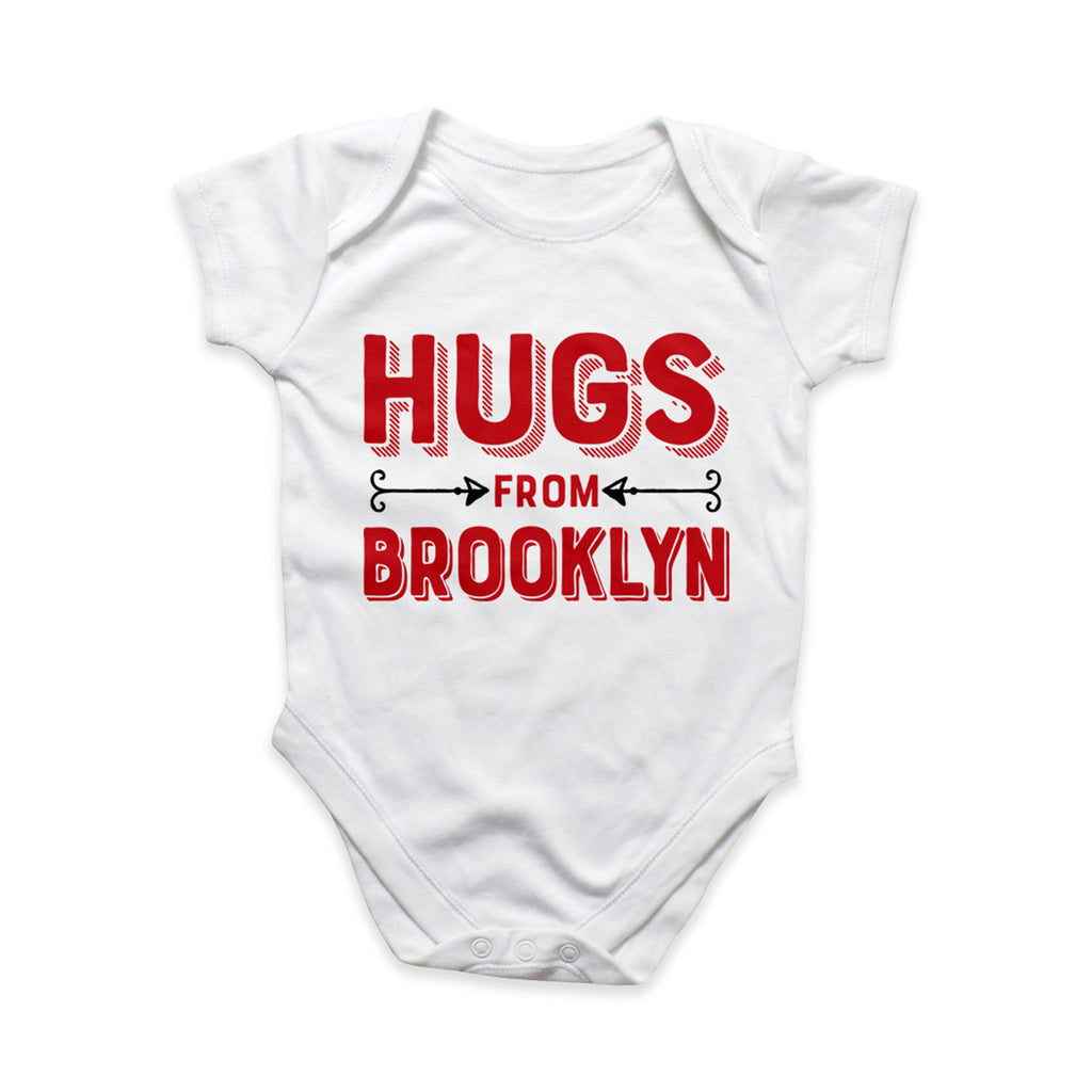 rock scissor paper hugs from brooklyn red and white cotton baby onesie