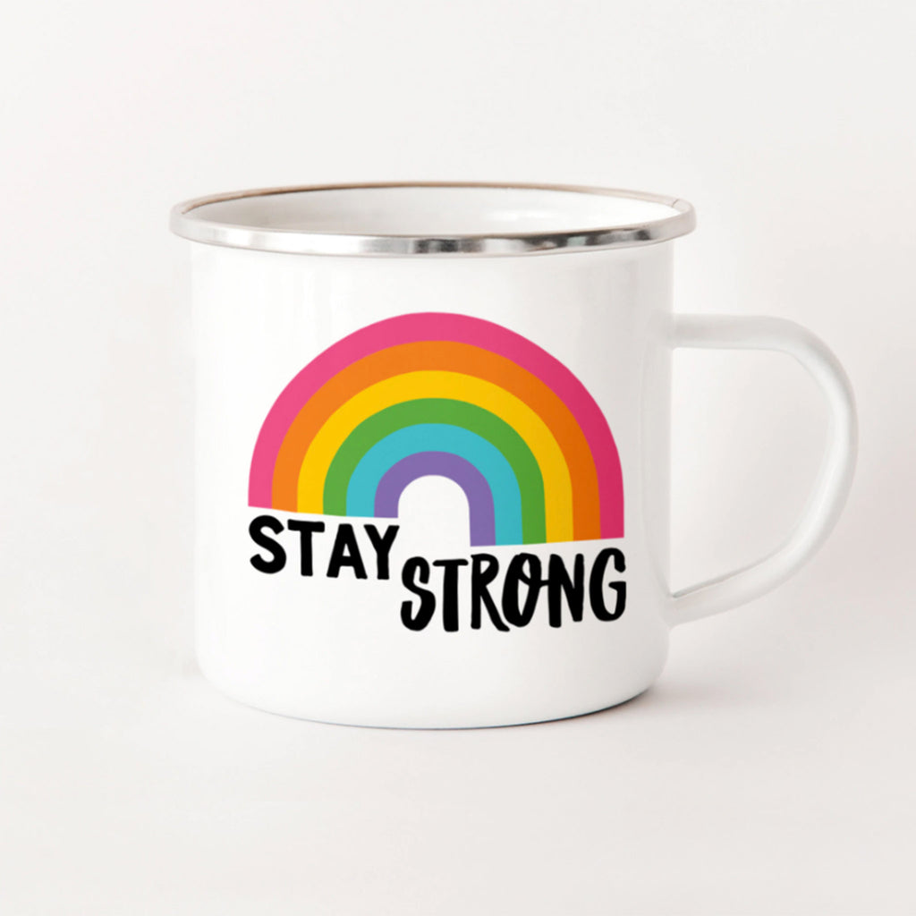 rock scissor paper stay strong rainbow white enamel stainless steel camp mug