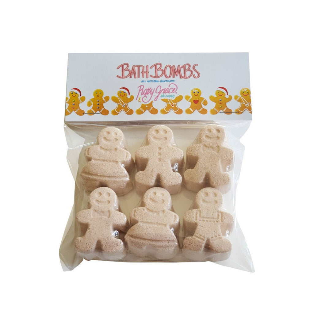 roxy grace gingerbread cookie people all-natural handmade bath bombs in packaging
