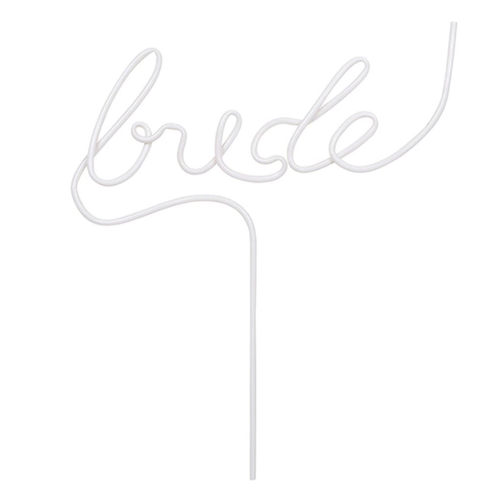 santa barbara design bride reusable white plastic word drinking straw