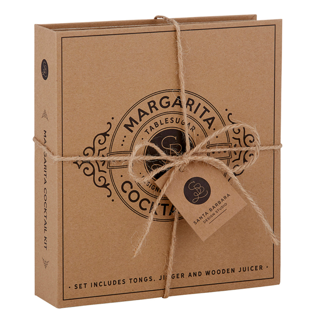 santa barbara design cardboard book set margarita cocktail set in packaging
