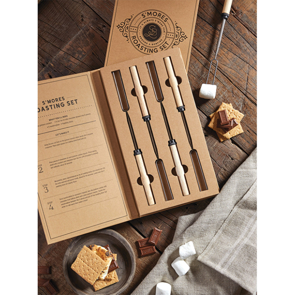 santa barbara design studio s'mores telescoping roasting tools sticks set packaging open with smore ingredients