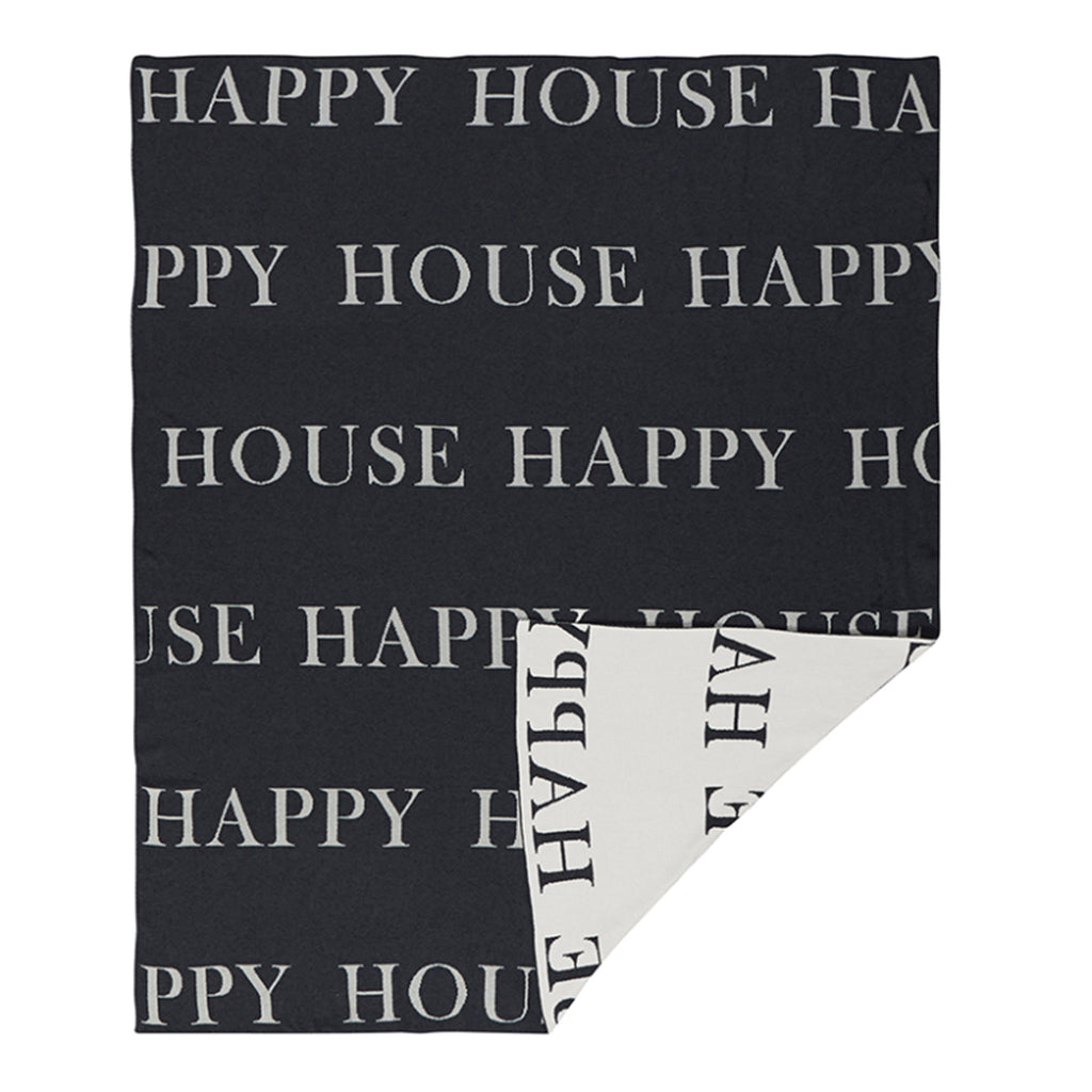 santa barbara design studio happy house black and white reversible throw blanket