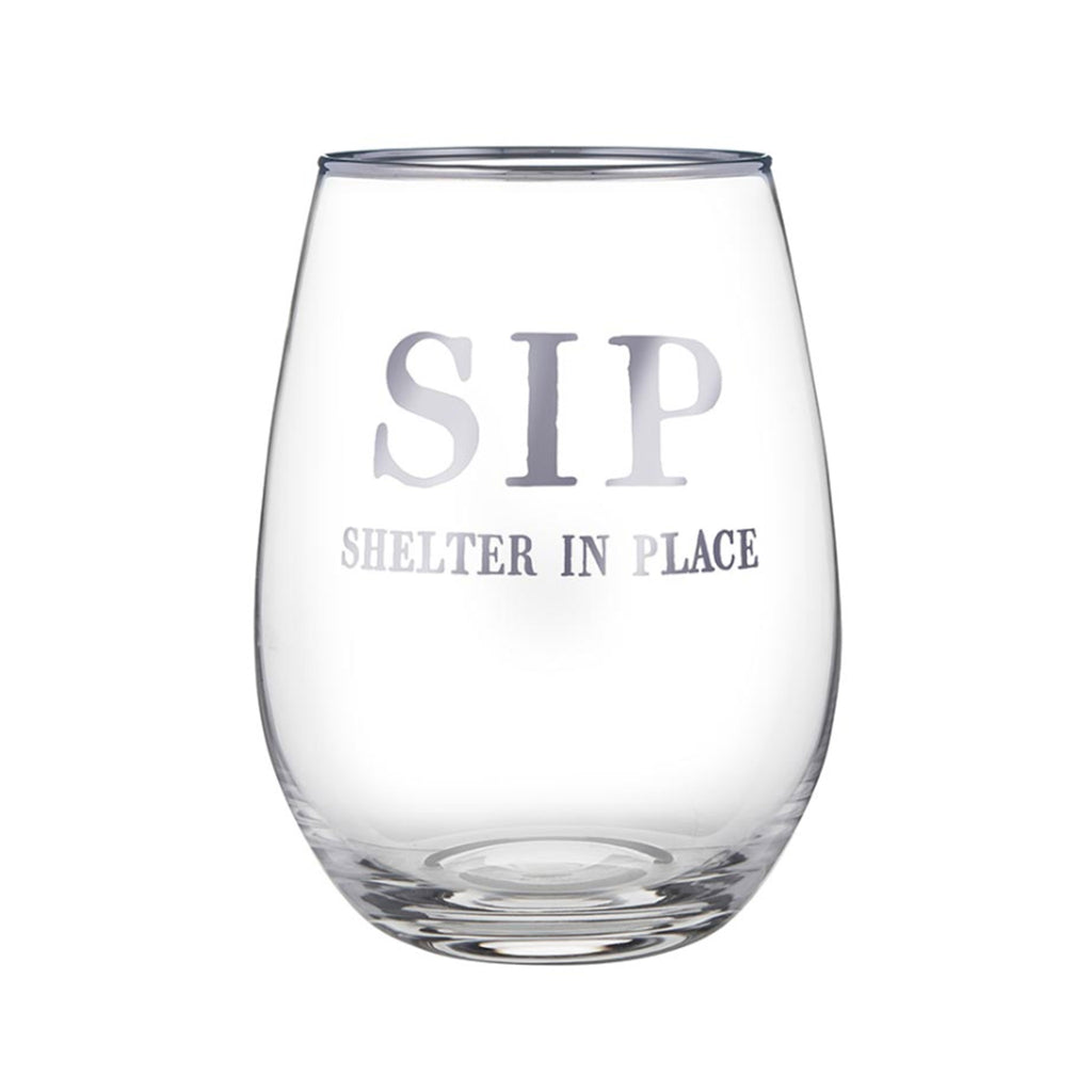 santa barbara design studio sip shelter in place face to face collection clear stemless wine glass