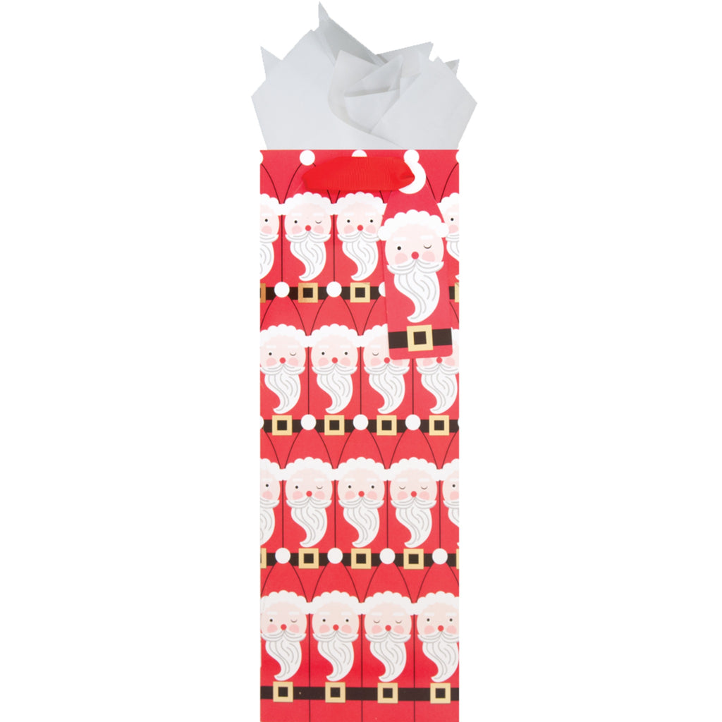 bottle gift bag with repeating santa pattern