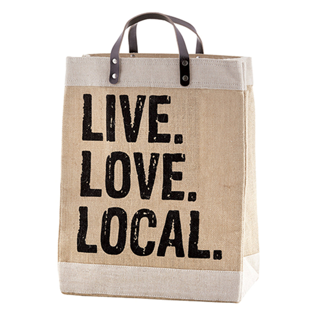 live love local jute market tote bag