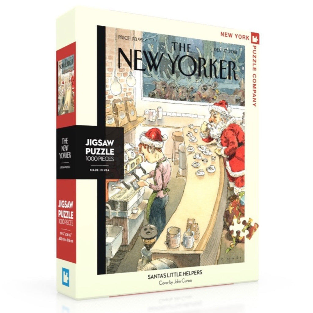 puzzle of new yorker cover illustration of santa sitting a a bar