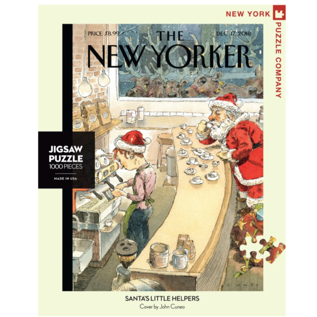 puzzle of new yorker cover illustration of santa sitting at a bar