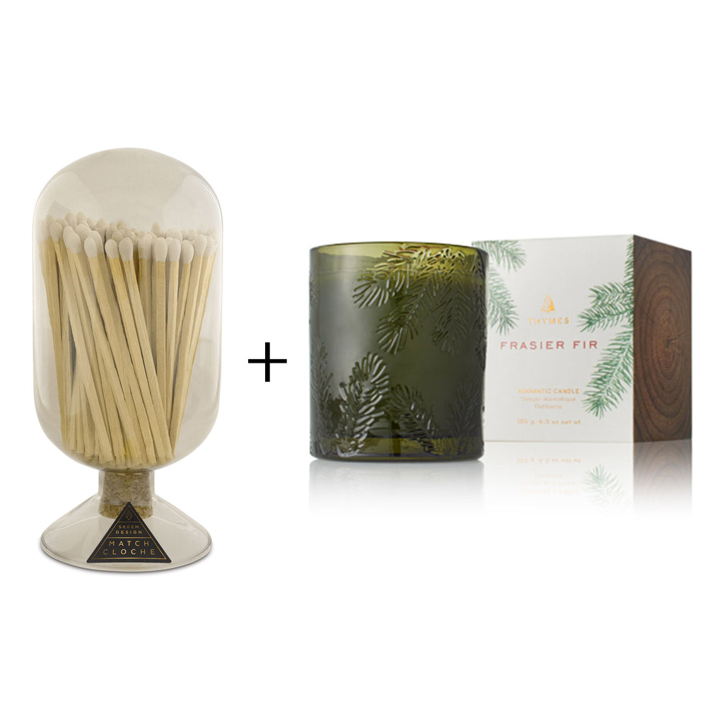 scent of the season gift box with skeem match cloche glass bottle and thymes frasier fir molded green glass candle