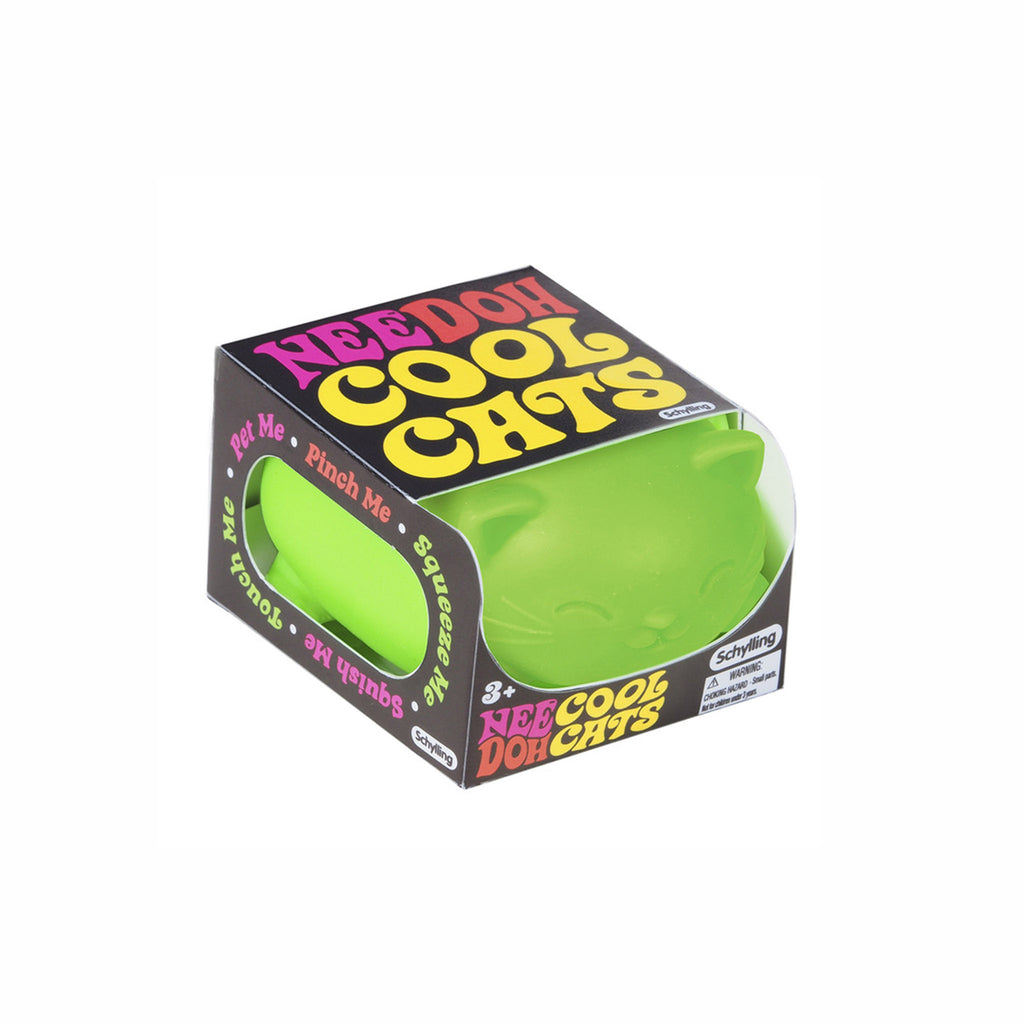 schylling nee doh cool cats stress relieving cat neon green in packaging
