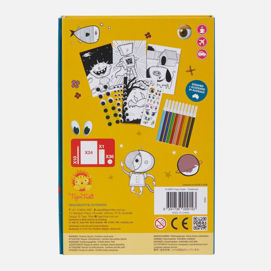 schylling tiger tribe crazy eyes creatures coloring set kids diy craft kit box back