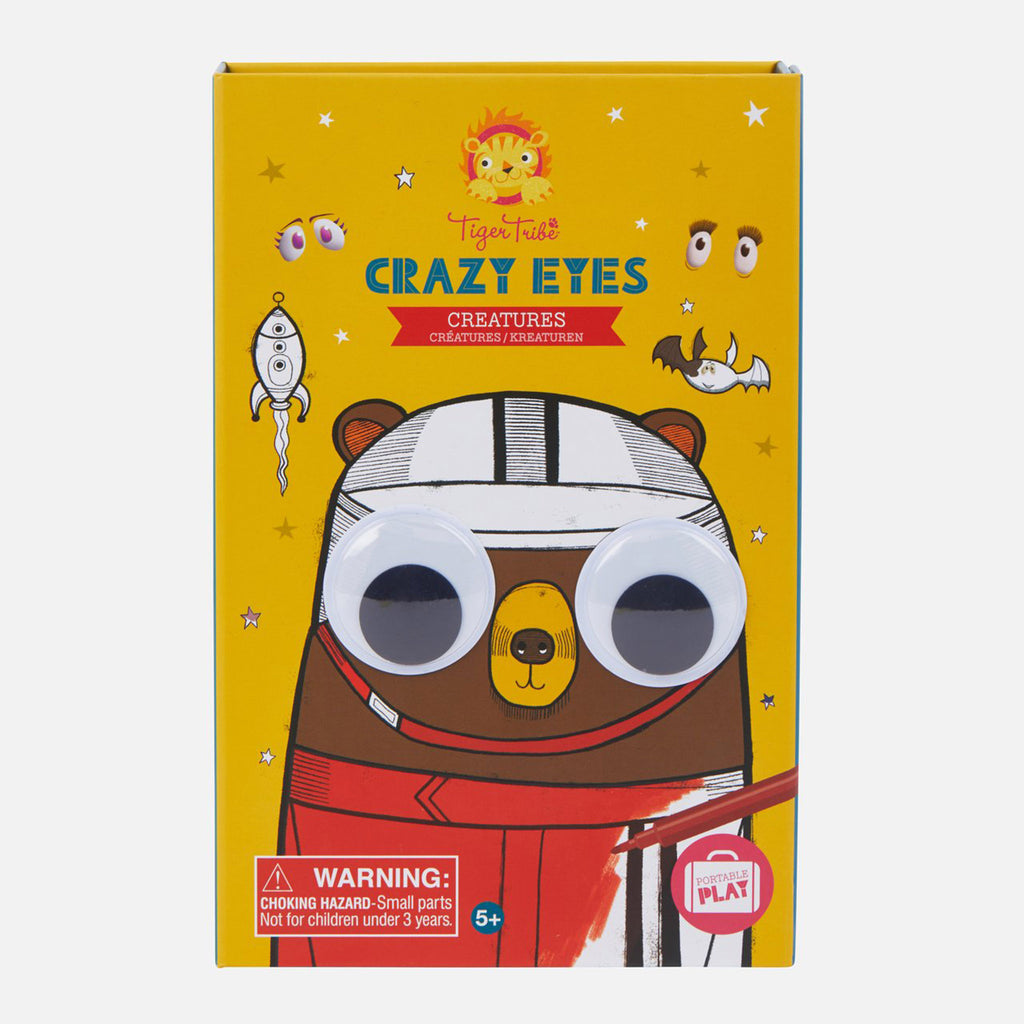 schylling tiger tribe crazy eyes creatures coloring set kids diy craft kit box front