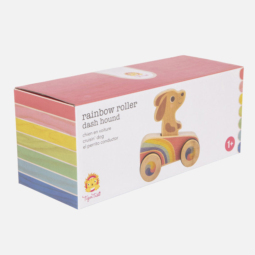 schylling tiger tribe dash hound rainbow roller racer packaging