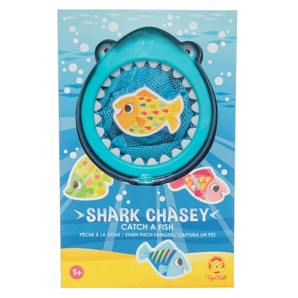 schylling tiger tribe shark chasey catch a fish toddler bath toy game box front