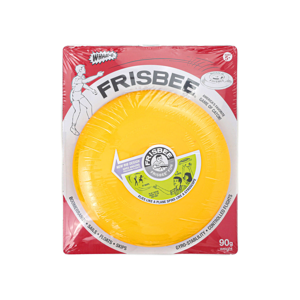schylling yellow vintage wham-o frisbee plastic flying disc in packaging